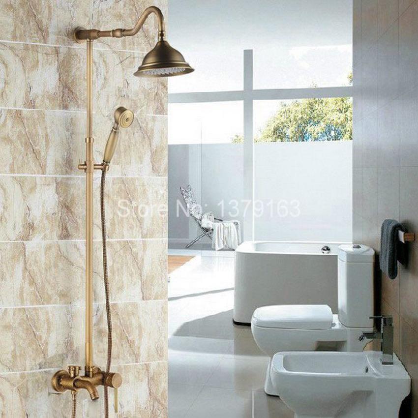 Vintage Antique Brass Wall Mounted Bathroom Large Rain Shower Faucet ...