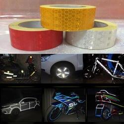 25 мм x 10 м желтый/красный/белый Светоотражающая Лента наклейки автомобиля-Стайлинг самоклеющаяся Предупреждение ющая лента