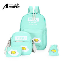 4pcs School Bags for Teenagers Girls Schoolbag Large Capacity Girls Cute School Backpack set Rucksack Bagpack Cute Book Bags