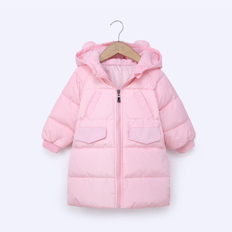Candy Color Fashion Winter Jacket For Girls Cute Rabbit Keep Warm Kids Clothing 80% Duck Down Jacket Long Blouse boys Clothes blouse color blue