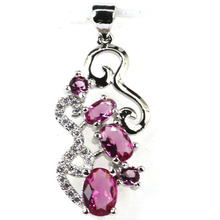 2017 New Arrival Pink Tourmalins, White CZ Woman's Gift Silver Pendant 31x14mm