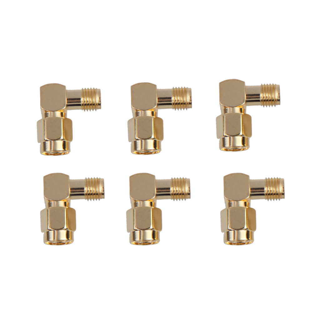 Delicate FPV Connectors 5.8G Right Angle SMA Female/Male Antenna Connector for RC Aircraft 6pcs  BS 5dbi 5 8g wide angle sma plug flat fpv antenna array for r c helicopter white deep blue