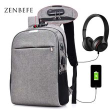 ZENBEFE Anti-Theft Backpacks With Reflective & Coded Lock Backpacks School Bag For Teenager USB Charging Connection Backpack Bag(China)