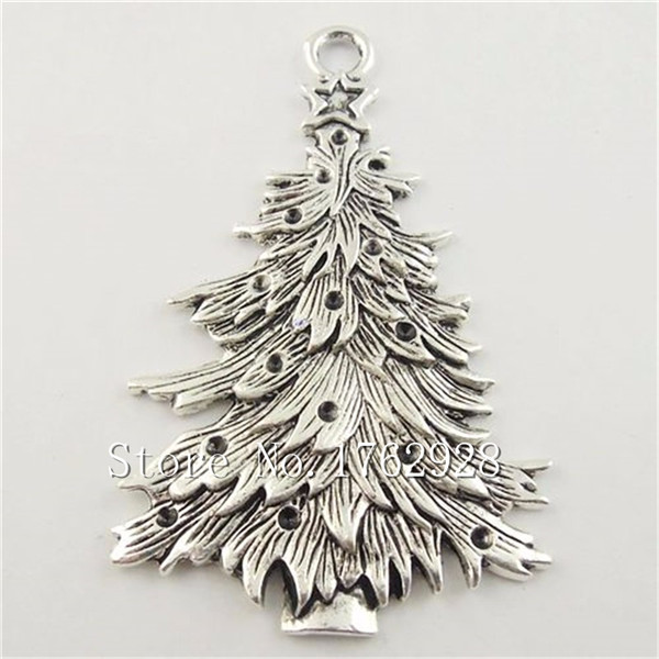 free shipping wholesale 20pcslot antique silver christmas tree charm pendants huge size - Antique Silver Christmas Decorations