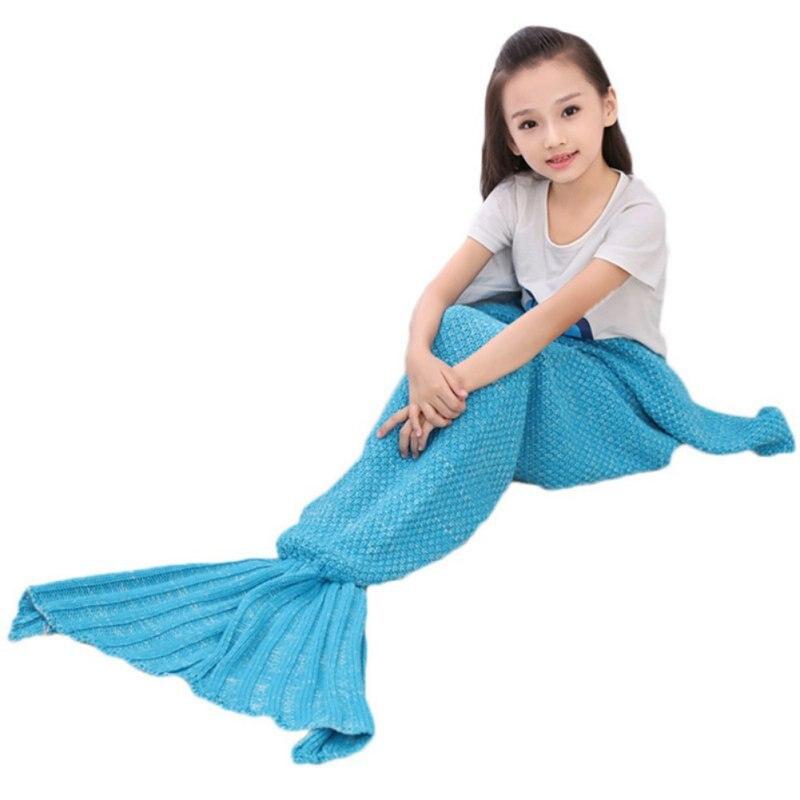 Fish Tail Knit Blanket Bed Linen Sofa Handmade Crochet Mermaid Sleeping Bag Wrap Adult Kid Christmas Giftjjps