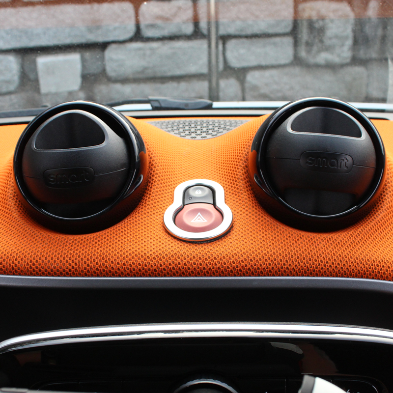 Abs Chrome Interior Hazard Warning Light Decorative Frame For New Smart Fortwo Forfour 453 Car Stickers Auto Parts Modification In Mouldings From