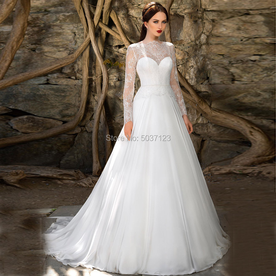 Chiffon Long Sleeves Vestido De Noiva Wedding Dresses Lace Appliques A Line Button Illusion Bridal Gowns For Bride Custom Made