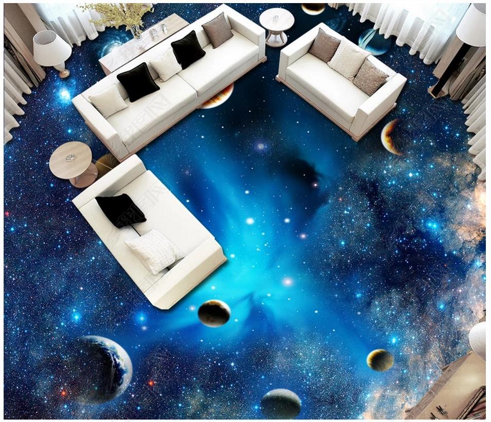 custom 3d flooring Waterproof self adhesion murals Space Star Planet 3D floor painting Stickers wallpaper living room wall decor