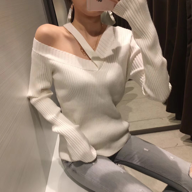 Poncho Promotion Polyester Women Sweaters And Pullovers Pullover 2018 New Shoulder V-neck Irregular Knit Slim Was Sweater Women