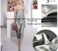 19 momme stretch silk satin silk garment cloth cloth silver wide scarf Wedding dress Party Dress 2018 Thickened silk
