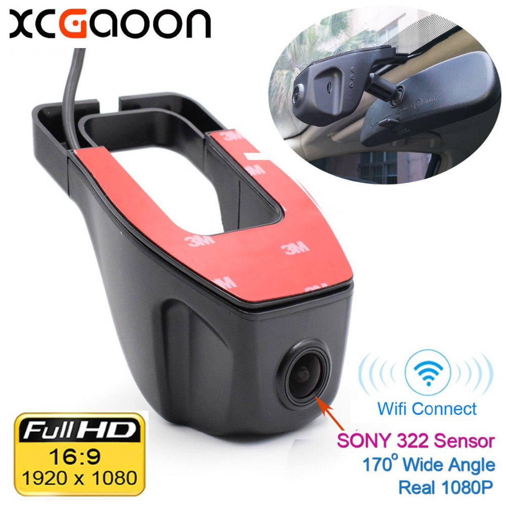 XCGaoon Wifi 170 graders bil DVR Video Recorder Videokamera Dash Camera 1080P Night Version Novatek 96655 Använd SONY 322 Sensor