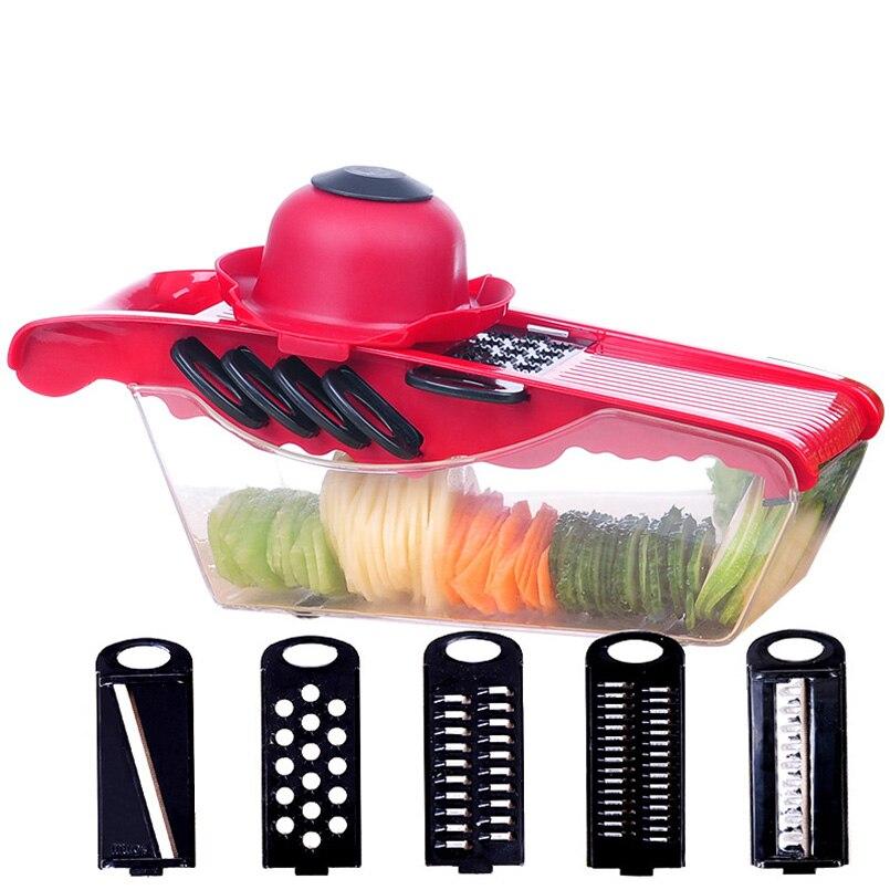 5in1 Manuel Légumes Cutter Trancheuses Ail Presses de pommes de terre Râpes Doigt Protecteur Fruits Outils accessoires de cuisine