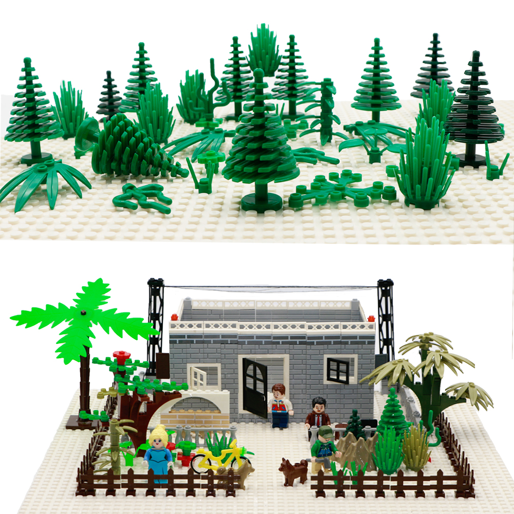 City Accessories Building Blocks Military Weapon Green Bush Flower Grass Tree Plants House Toys Leaves LegoINGlys Bricks Friends
