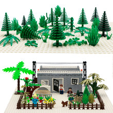 City Accessories Building Blocks Military Weapon Green Bush Flower Grass Tree Plants House Toys Leaves LegoINGlys Bricks Friends(China)