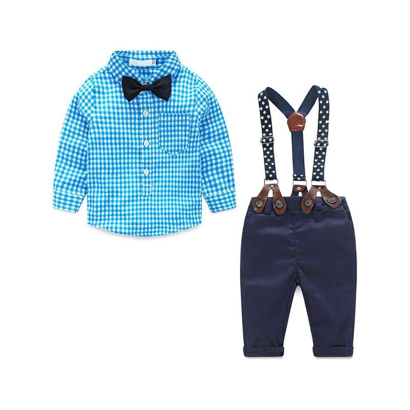 Комплект одежды для маленьких мальчиков Повседневное Детские комплекты одежды милый Костюмы 2 шт. Детские костюмы Рубашки в клетку + Gallus Мот...