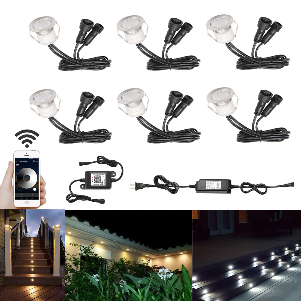 6pcs/lot 30mm 12v Outdoor Terrace Led Deck Stair Step Rail Lights Pathway Patio Landscape Lamp Wifi Controller Dimmer Timer Led Underground Lamps Led Lamps