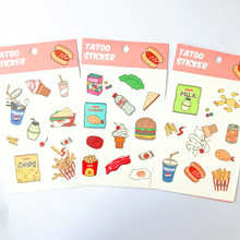 1 vel Kawaii Fast Food Tatoo Stickers DIY Adhensive Mini Stickers Briefpapier Decoratieve Stok Label School Office Supply(China)