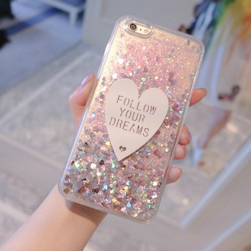 Phone Case For Alcatel 1X 3X 3V 3C 3 5 7 Folio Case 3D Cute Love Glitter Liquid Soft TPU Silicone Covers