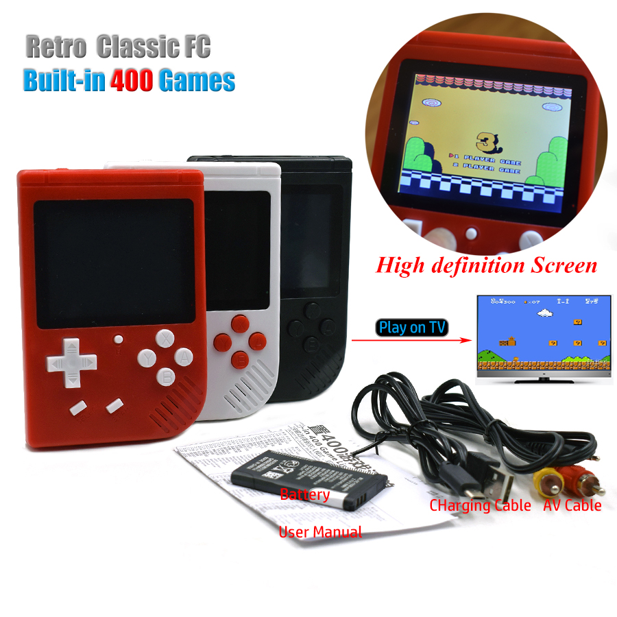 retro mini tv handheld game player built in 400 classic fc for tv games portable children 39 s. Black Bedroom Furniture Sets. Home Design Ideas