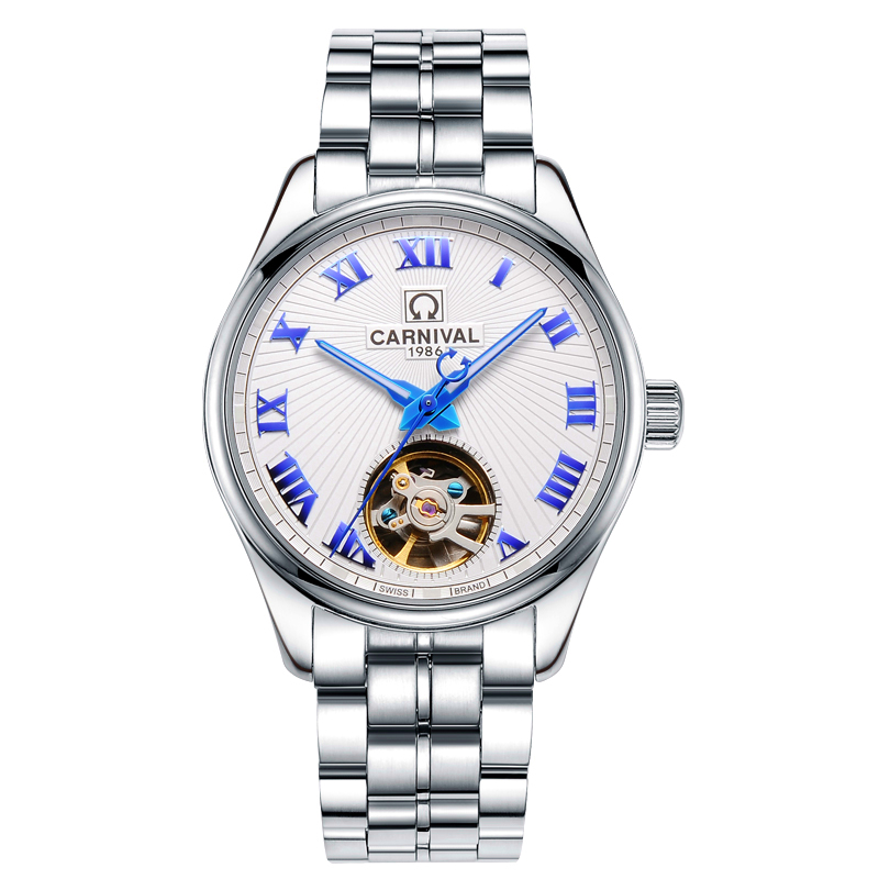 Luxury Carnival Watch men tourbillon silver stainless steel Automatic machine Waterproof Roman wristwatch relogio masculine