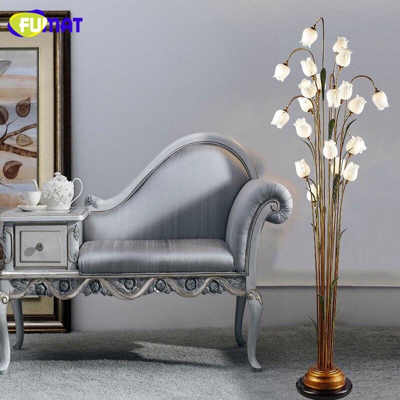 FUMAT Glass Floor Lamp Fashion Pastoral White Rose Shade Floor Lamps Vintage For Living Room Art Decor Glass LED Floor Lights