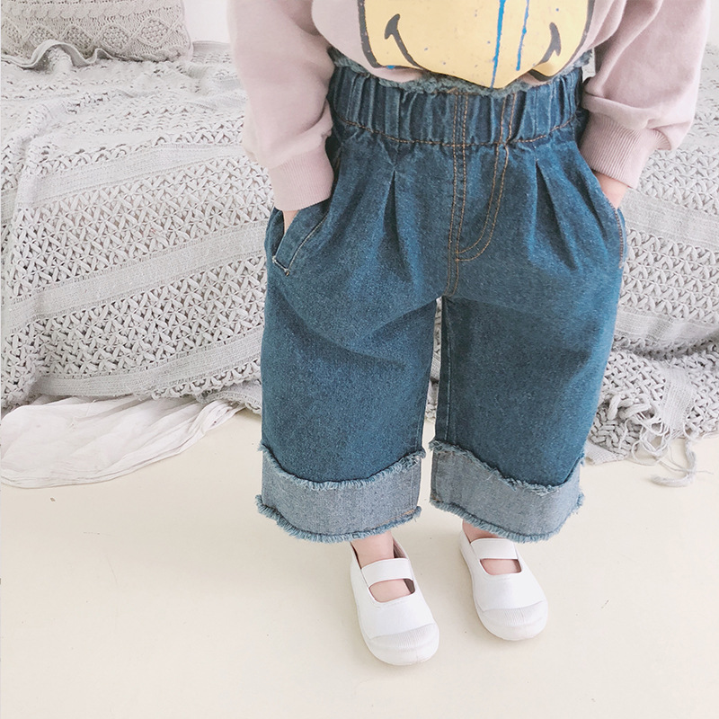 Spring 2019 New Kids Korean Jeans Children Wide Legs Stitching Edge Jeans Baby Boys Girls Loose Pants