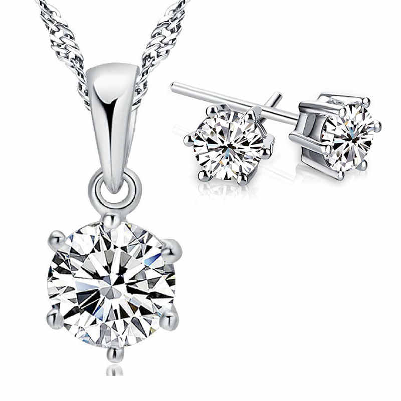 Hot Fashion 925 Serling Silver Jewelry Sets Women Best Gifts Shinning Necklace Pendant & Stud Earrings Big Promotion