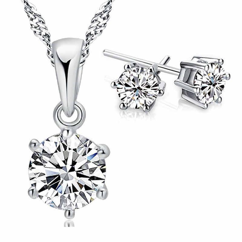 חמה אופנה 925 Serling כסף תכשיטי סטי נשים הטוב ביותר מתנות Shinning שרשרת תליון & Stud עגילי גדול קידום