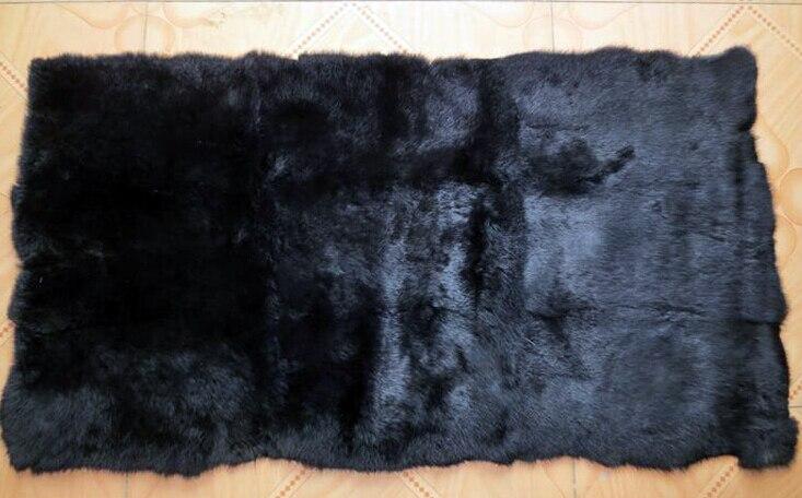 100% plaque réelle de lapin de colorant/plaque noire de peau de fourrure de lapin pour des vêtements