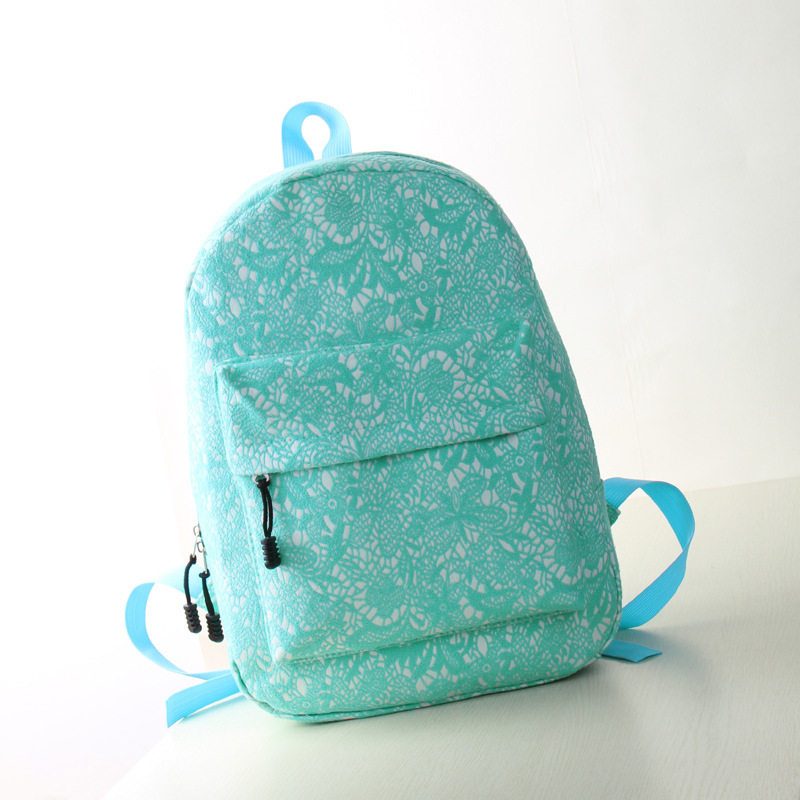 Hot Fresh Fashion Dot Printing Students School Bags Women lace Backpacks High Quality Double Shoulder Canvas