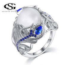 GS Fashion Women Ring Elegant Huge Moonstone Wedding Party Bride Engagement Ring Men Blue Rhinestone Crystal Rings Jewelry R5DGD(China)