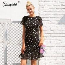 Simplee Backless star summer dress women Chiffon casual mini dress party 2018 Spring clothes vestidos black short dress female