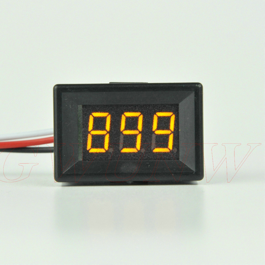 GWUNW BY336BV DC 0-999V (1000V) 3 bit 0.36inch Voltage Tester Meter digital voltmeter Panel Meter gwunw by456v dc 0 30 00v 30v 4 bit digital voltmeter panel meter red blue green 0 56 inch voltage tester meter