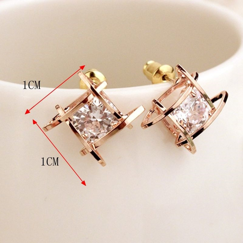 Fashion Luxury Intersecting Parallels Square Rhinestone Crystal Stud Earrings Silver Gold Color Geometric Set Earrings For Women