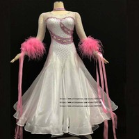 ballroom dance competition dresses Black Custom handmade standard ballroom dress women White color