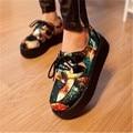Квартир женщин Дышащие холст Обувь 2017 новых моде creepers обувь женщина плюс размер Лианы туфли на платформе