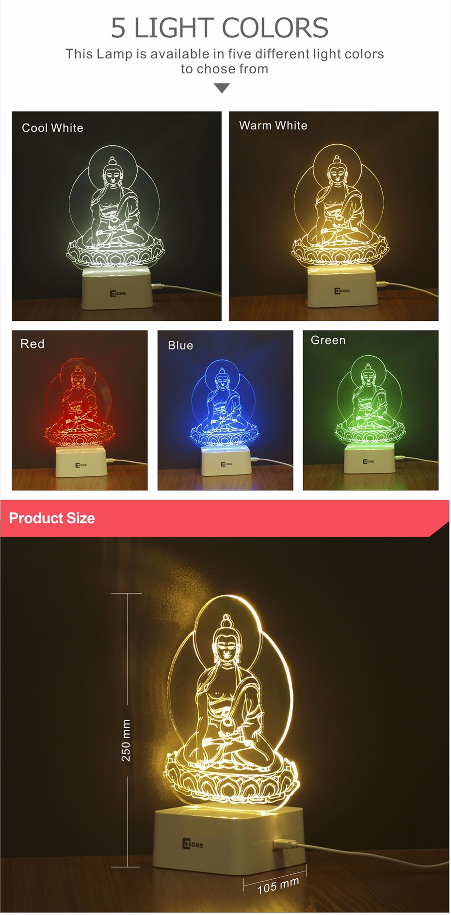 5 Colors Dimmable Night Light Buddha Statue Sakyamuni 3D Led Lamp Table Lampara Desk Night Light  (2)