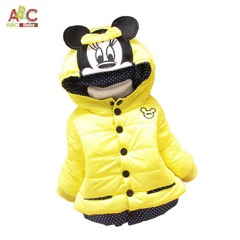 2016 children outerwear cotton winter Hooded coats Jacket Kids long sleeve cartoon casual Coat clothing Baby Girls Down & Parkas