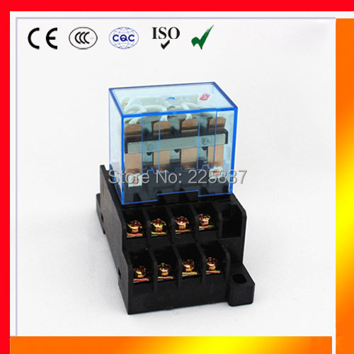 LY4 relay (5pc) silver contact LY4NJ JQX-13F HH64P rele AC DC 12v 24v 220v ac 10A reles w/ PTF-14A base socket holder jqx 60f 1z 60a 12v dc 24v dc 220v ac coil power relay