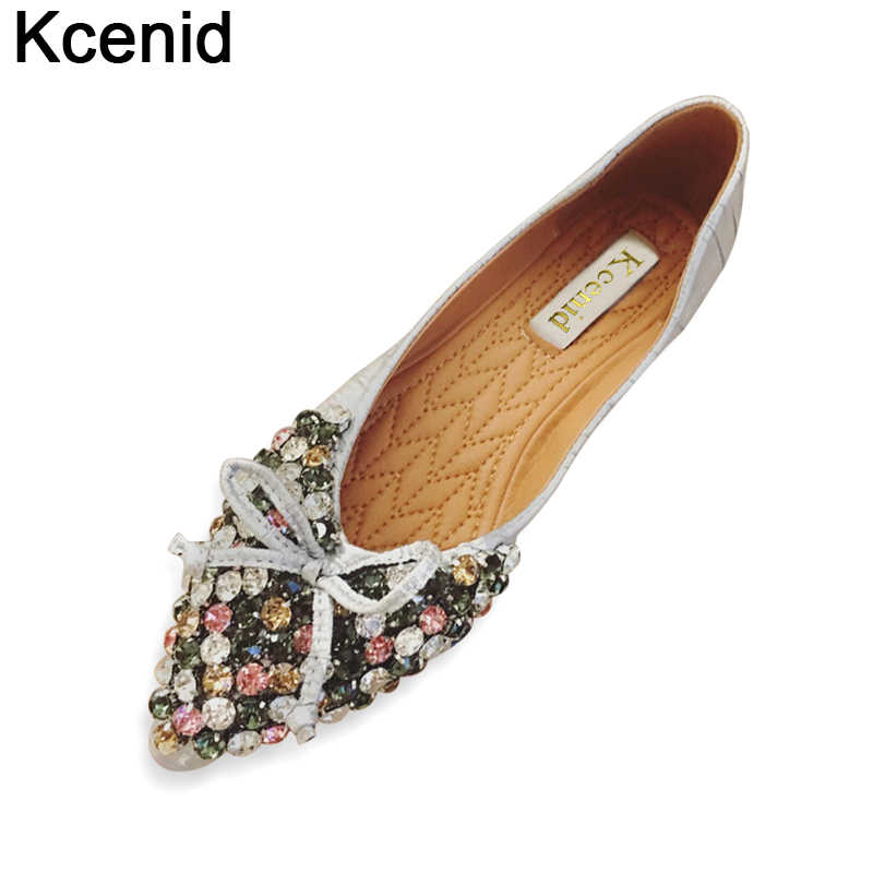 Kcenid Newest fashion 2018 silver flat shoes women ballet princess shoes  casual crystal boat shoes rhinestone 25ae82e9e6f1