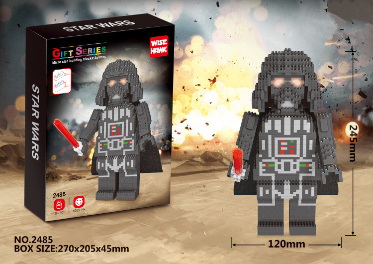 Alen Mini Building Nano blocks,best gift for children,Educational toys,2485,big size,black knight,Star Wars series