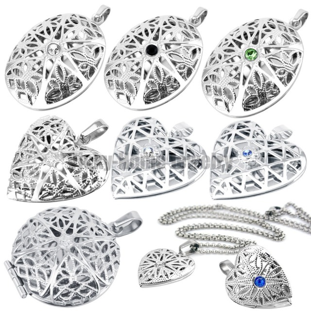 hot selling silver oval perfume diffuser locket pendant necklace essential oil F