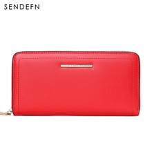 Sendefn Fashion 2017 New Brand Split Leather Women Wallets Female Long Wallet Lady Zipper Purse Strap Coin Purses For iPhone 7S