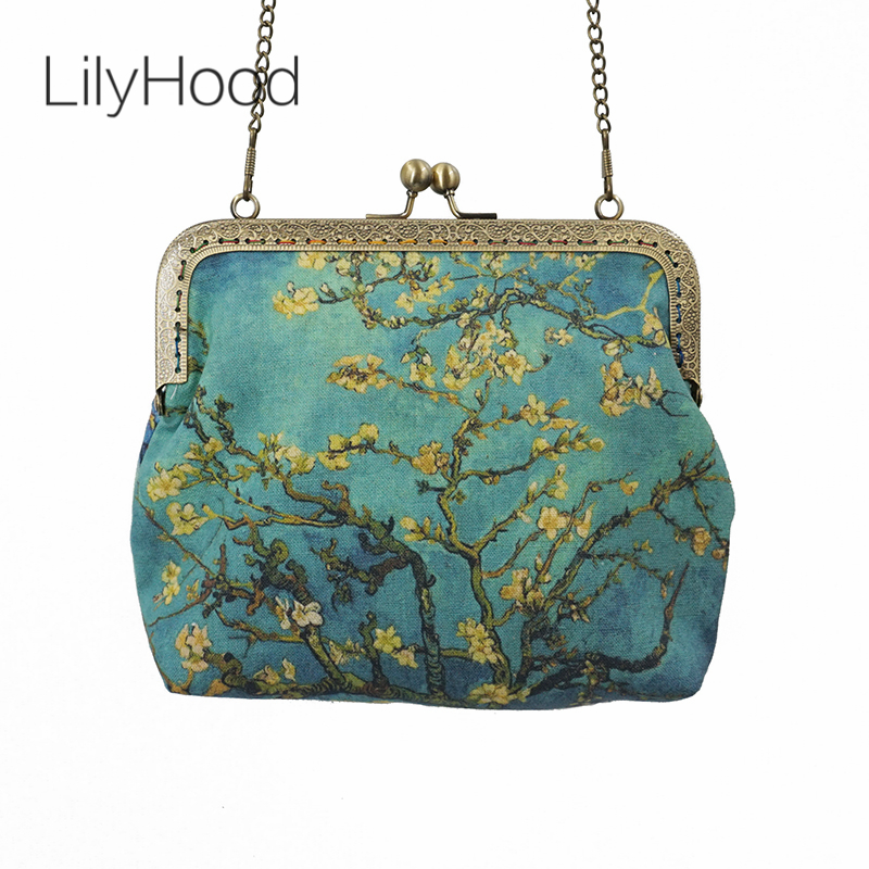 LilyHood 2018 Female Oil Painting Printing Kiss Lock Crossbody Bag Vincent van Gogh Art Chain Inspired Personalized Shoulder Bag hand painted famous oil painting the bedroom at arles c 1887 of vincent van gogh multicolored