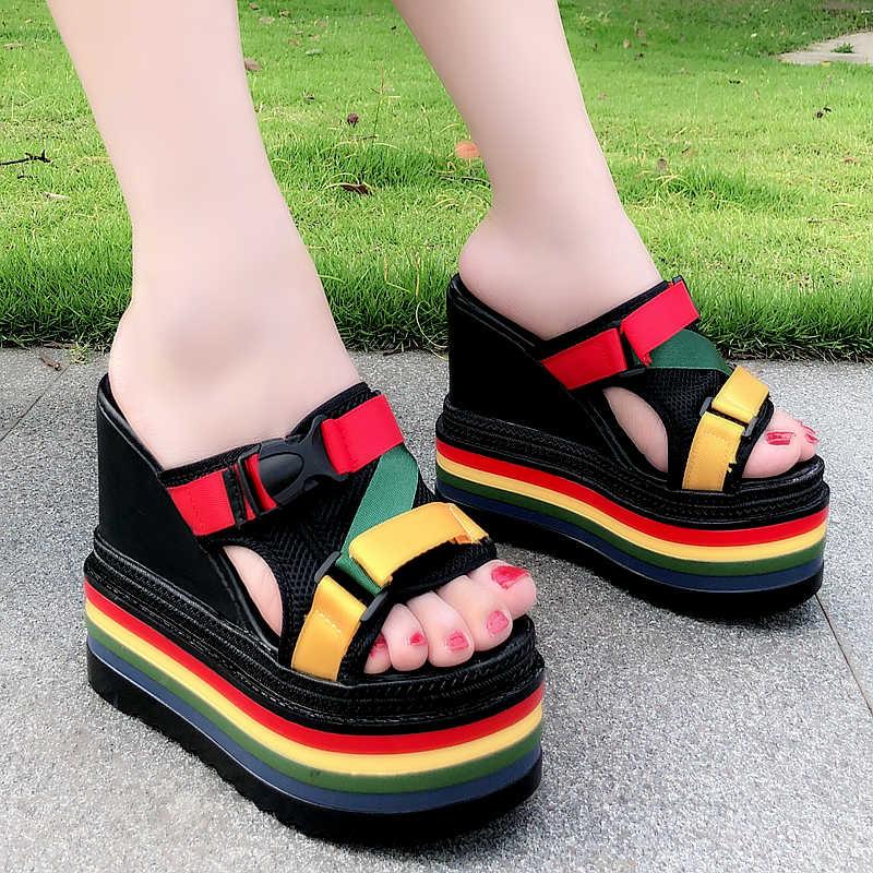 แฟชั่นฤดูร้อนสวมใส่ผู้หญิงรองเท้าแตะ 2019 ใหม่ super สูง 15 เซนติเมตรแพลตฟอร์มรองเท้าแตะขนาด 34-38