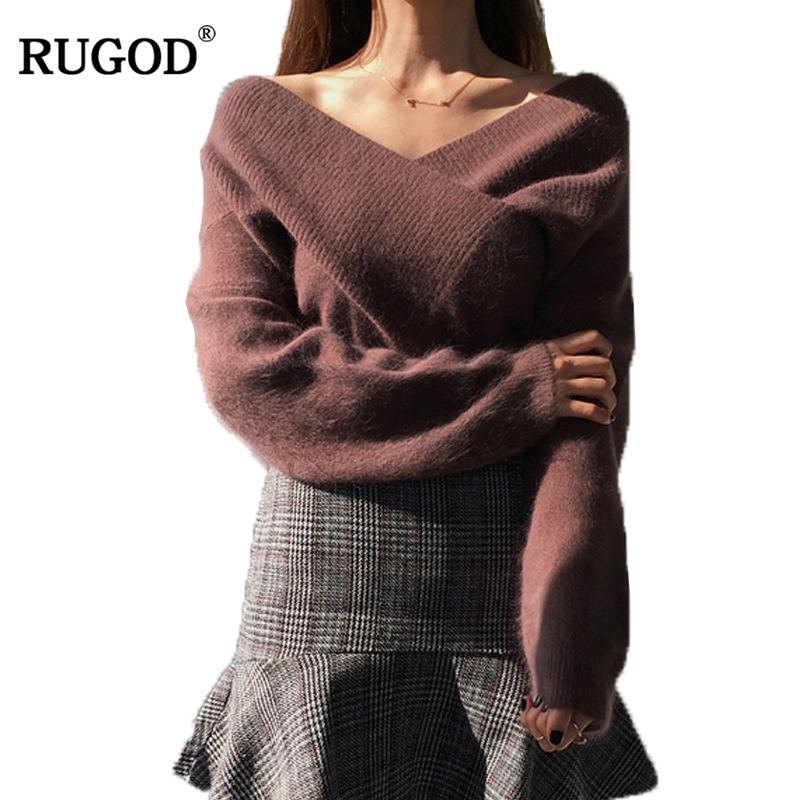 RUGOD V neck Thick Knitted Sweater For Women Long Sleeve Off shoulder Pullover Women Winter Sexy