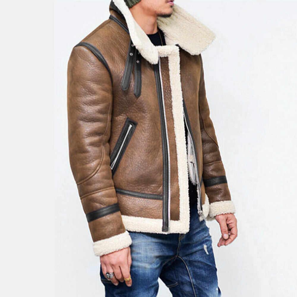 Feitong, Осень-зима, мужская куртка из искусственной кожи, толстая, с высоким воротом, теплая, с меховой подкладкой, с отворотом, на молнии, верхняя одежда, пальто, deri mon erkek 2018