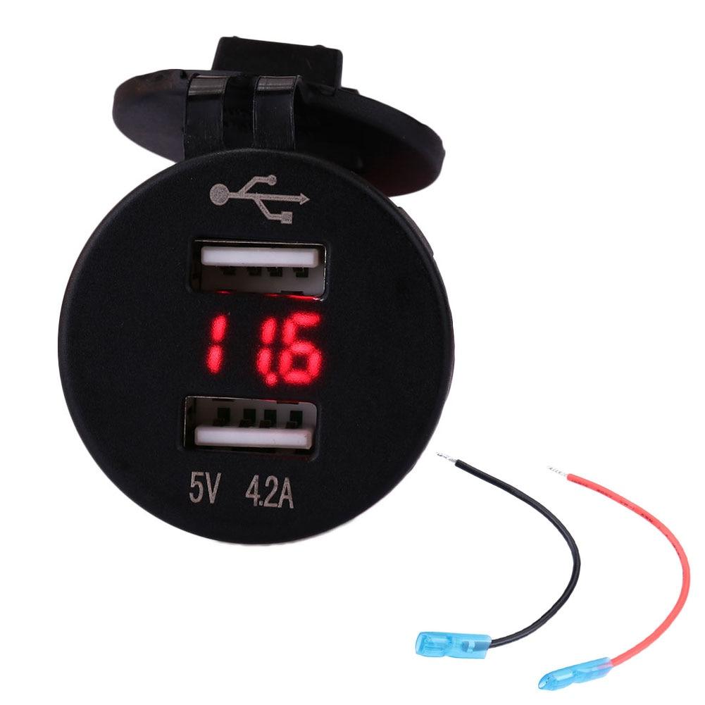 4.2A Dual USB автомобильное крепление прикуривателя Разветвитель зарядное устройство с вольтметром - Название цвета: red