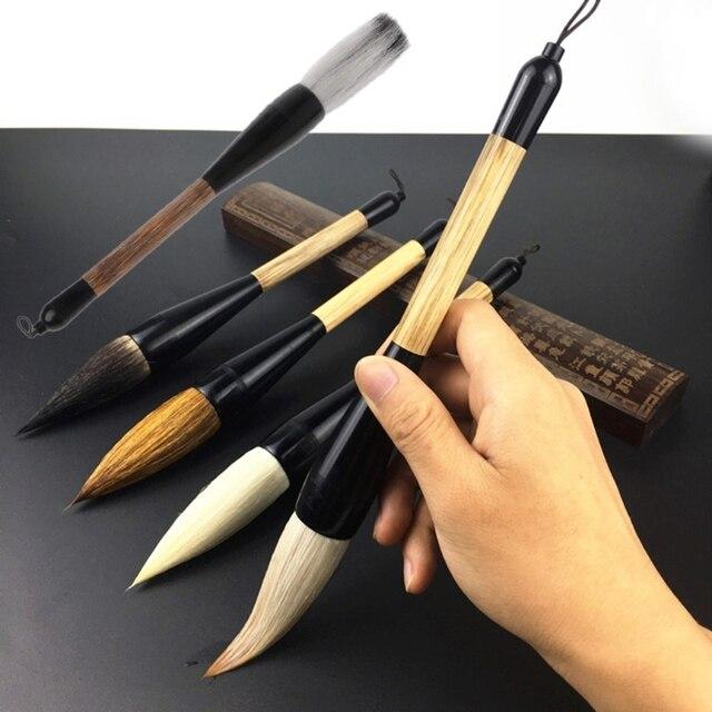 5 estilos de pincel de caligrafía chino de pelo de cabra pincel de bambú  pincel de 556b25984745