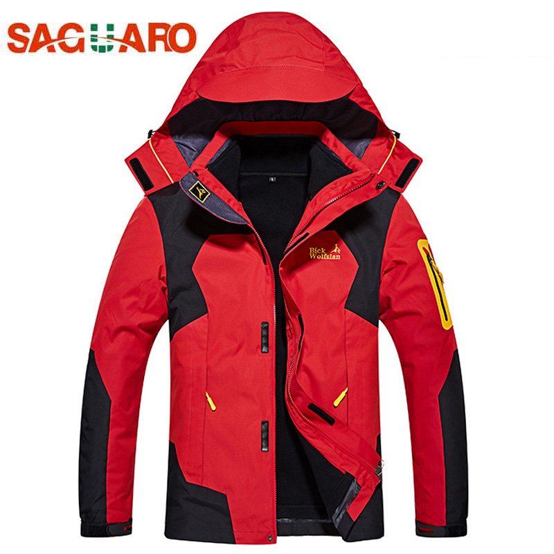 SAGUARO New 3in1 Ski Jackets Men Women Waterproof Windproof Down Snowboard Jacket 2017 Winter Breathable Warm Double Ski Suits 4 colors winter women men camouflage ski jacket waterproof windproof warm ski coat breathable snowboard hooded jacket outwear